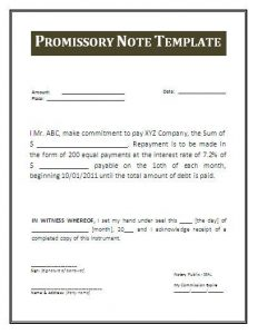 promissory note example promissor note template