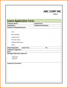 promissory note format leave application format for employees