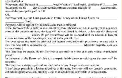 promissory note template word free promissory note template word