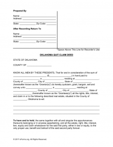 promissory note templates word oklahoma quit claim deed form x