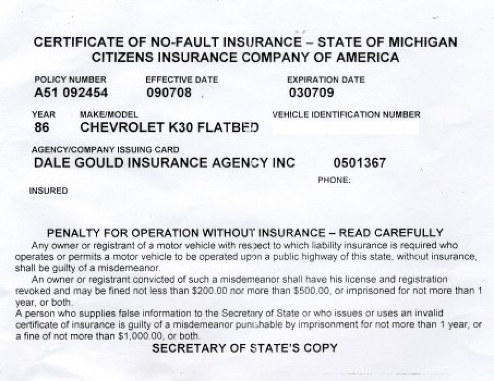 Proof Of Auto Insurance Template Free Template Business