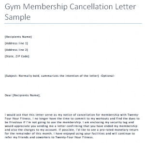 proof of employment letter sample gym cancellation letter sample