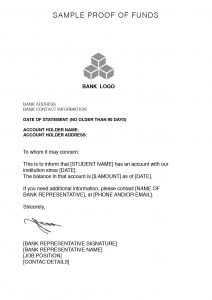 proof of employment letter sample proof of funds
