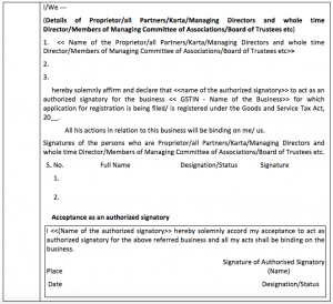 proof of income documents declaration for authorised signatory