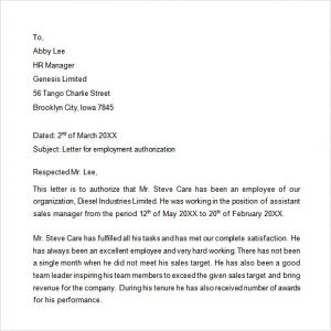 proof of income documents sample employment authorization letter