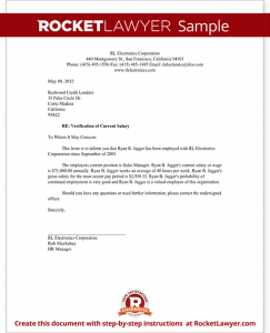 proof of income letter sample salary verification letter form template