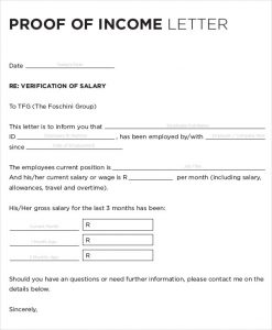 proof of income proof of income verification letter sample