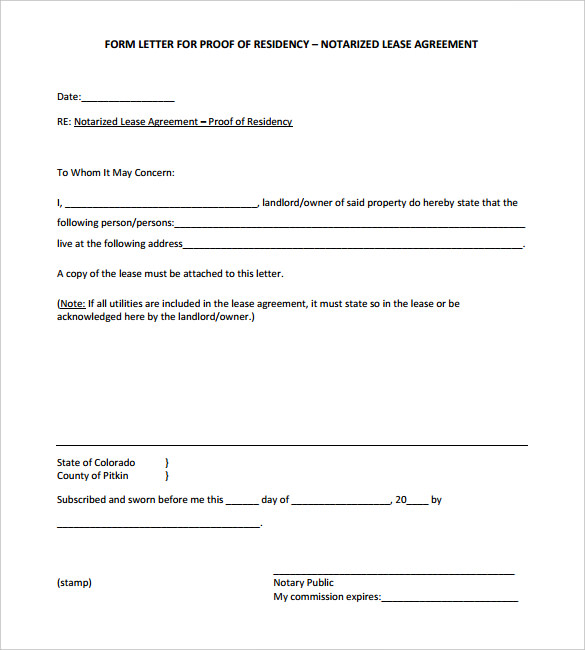 Proof Of Residency Letter Notarized | Template Business