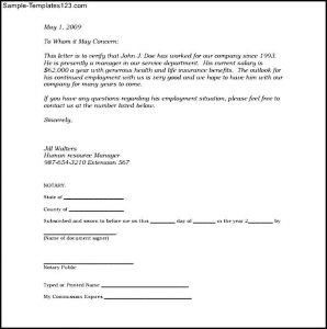 proof of residency letter notarized sample notarized letter of employment template pdf printable blank notarized letter for proof of residency template pdf format