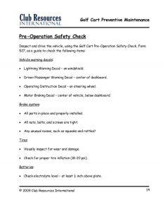 property inspection checklist golf cart preventive maintenance