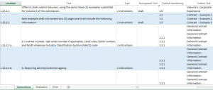 proposal outline template requirement matrix mapping sample