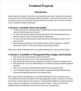 proposal outline template technical proposal template free