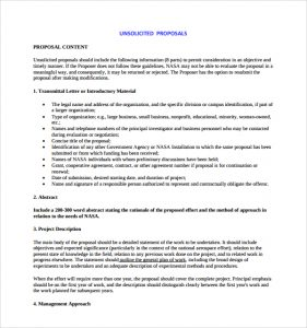 proposal writing example nasa unsolicited proposal template