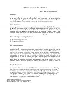 provisional patent application example drafting of a patent specification