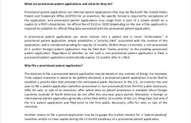 provisional patent example pitfalls of provisional patent application template download