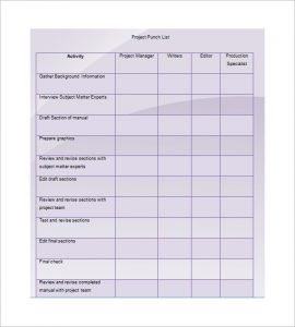 punch list template project punch list template example