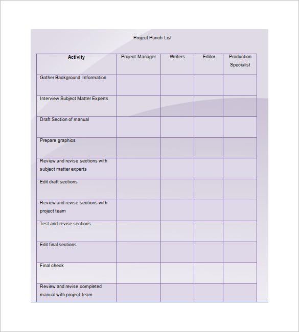 punch list template