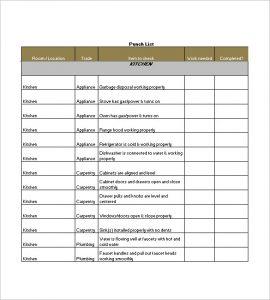 punch list template sample punch list template
