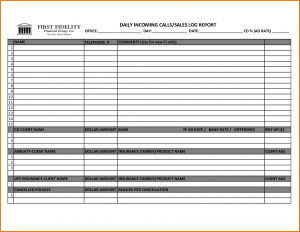 punch list templates sales call log template