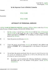 purchase agreement sample british columbia affidavit of personal service form