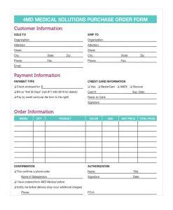 purchase order form medical purchase order form