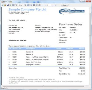 purchase order sample purchase order screen shot