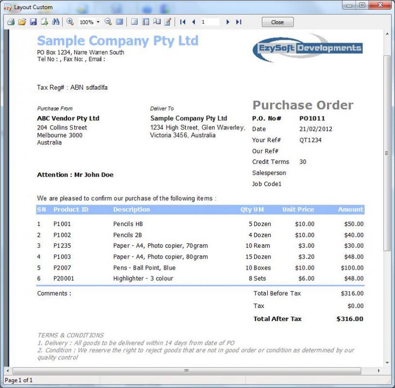 purchase order sample