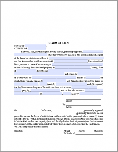 purchase order template pdf claim of lien certificate