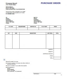 purchase order template word purchase order