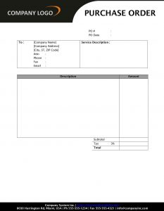 purchase order template word purchase order service sd style