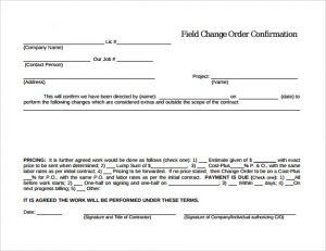 purchase order templates word field change order template