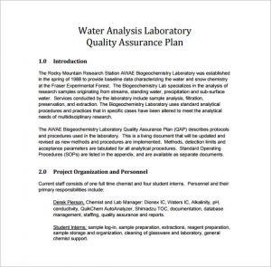 quality assurance plan laboratory quality assurance plan pdf template free download