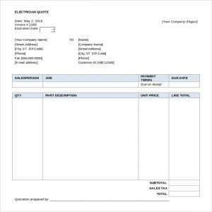 quotes template word free download electrician quotation template word format