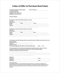 real estate offer letter template sample real estate offer letter documents in pdf word regarding sample real estate offer letter