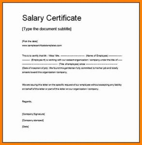 receipt template doc salary certificate word format