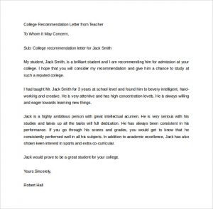 recommendation letter for college college recommendation letter from teacher