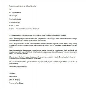 recommendation letter for college recommendation letter for college admission word format
