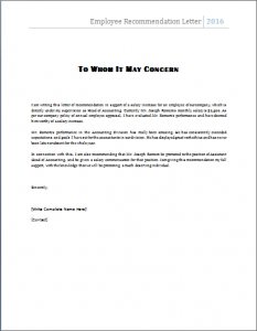 recommendation letter for employee employee recommendation letter