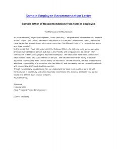 recommendation letter for employee recommendation letter for former employee free cover letter for letter of recommendation former employee