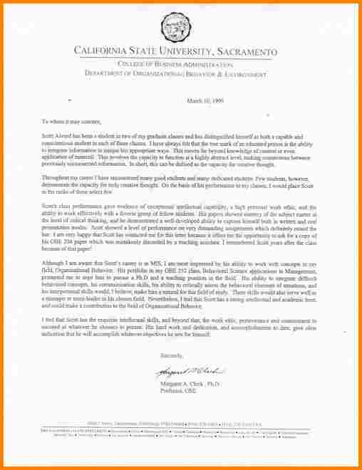 recommendation letter for grad school