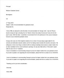 recommendation letter for graduate school letter of recommendation for graduate school