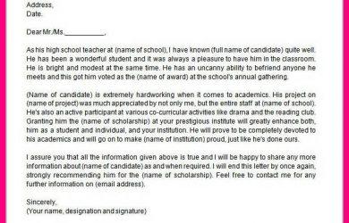 recommendation letter for scholarship recommendation letter for scholarship sample sample scholarship recommendation letter