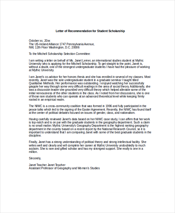 recommendation letter for student scholarship