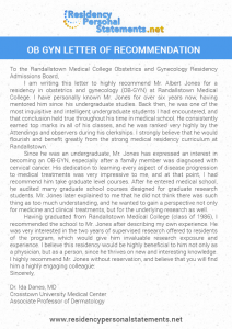 recommendation letter for students ob gyn letter of recommendation sample