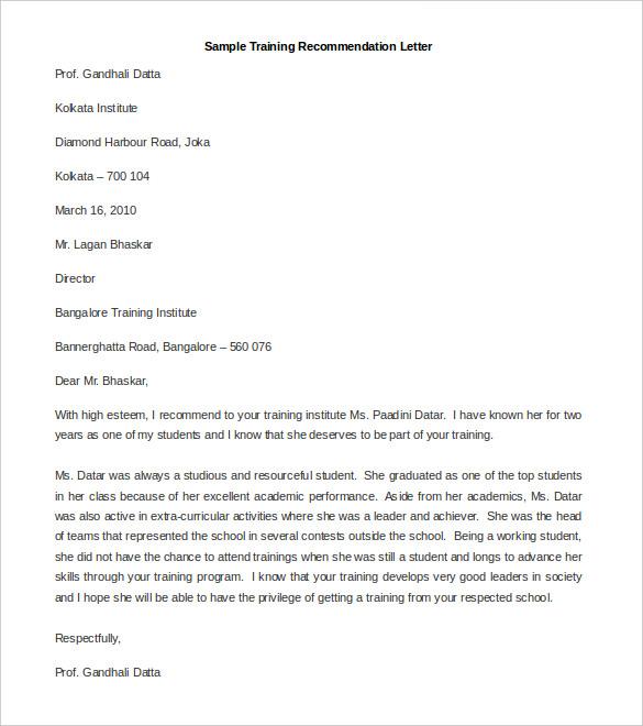 recommendation letter format