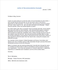 recommendation letter format recommendation letter example