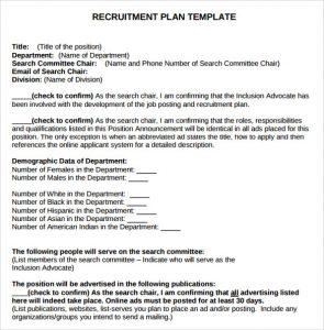 recruitment plan templates recruitment plan template