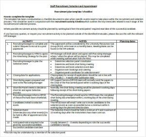 recruitment plan templates recruitment plan template checklist doc format free download