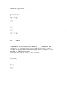 reference letter for employees retirement congratulations letter template