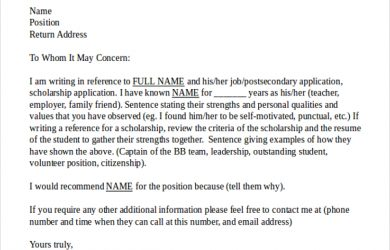 reference letter format sample reference letter template